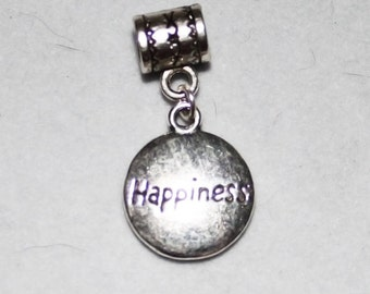 Silver Happiness Affirmation Lrg Hole Bead Fits All European Add a Bead Charm Bracelet Jewelry Pnd-Sy078eb