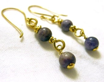 14k Gold and Purple Charoite Drop Earrings