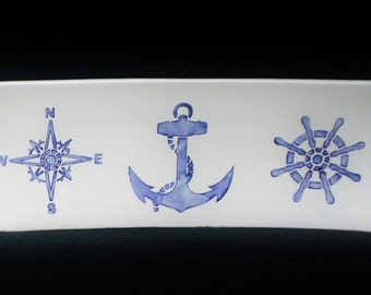 Platter. Nautical Platter. Anchor. Wheel. Compass Rose. Sea. Ocean. Handmade by Sara Hunter Designs