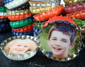 Two PERSONALIZED bottle cap magnets - custom made with YOUR photos