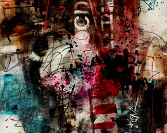 11x14  Modern Art Contemporary Print grungy with an urban flair Rising by Jodi Ohl