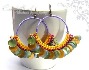 Hippie Boho Hoop Earrings, Multicolor Waxed Cord and Shells Earrings