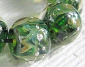 RESERVED   Frits under Clear ,  Lampwork Bead Set,  Handmade by Deronda,  SRA  Custom