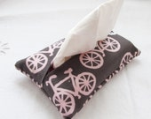 Pocket Tissue Cozy Cover - Bicycle in Gray and Blush Pink  - Great Stocking Stuffer