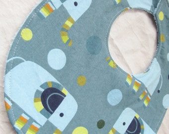 Baby Boy or Baby Girl Neutral Bib - Elephants Stomp - Boutique Bib with terry cloth backing with soft velcro closure