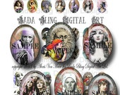 Gypsies, Mystics and Fortune Tellers, 18mm x 25mm cabs , digital collage sheet  INSTANT Digital Download at Checkout, boho jewelry