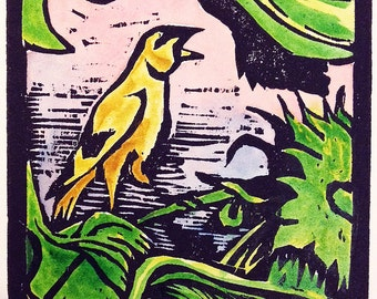 Summer Finch (hand colored woodcut)