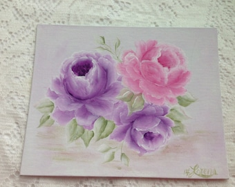 Hand Painted ART of Pink Purple Roses CANVAS Board Painting 8x10 Shabby Chic ECS cst schteam SVFTeam