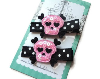 Skull Hair Clips for girls - Pink and Black White Dots - Halloween Diva Hair Clips Hair Clip velcro polka dots Skeleton Rockabilly Cool