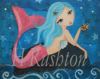 Mermaid Art- Children's Art- Mermaid Decor- Mixed Media Art Print  8 x 10 by HRushton