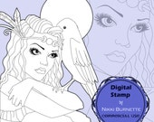 Digital Stamp - Printable Coloring Page - Fantasy Art - Morrigan Goddess Stamp - Portrait of Morrigane - by Nikki Burnette - COMMERCIAL USE