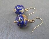 Lapis Globe World earrings
