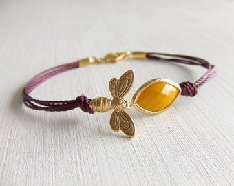 Queen Bee Jewelry Bracelet - Gold Honeycomb Bracelet - Summer Outdoor - Yellow Faceted - Purple Cord - Bee Species - Gift for Her - Under 25