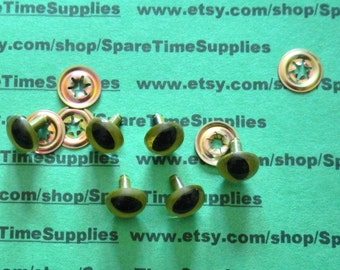 """Bel Tree - 51212-05 Cat Eyes with shank and fastener - green - 1/2"""" (12mm) - 6 eyes and 6 fasteners"""