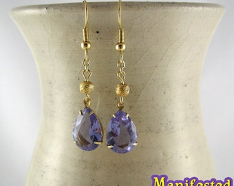 Purple Crystal Earring gold tone Princess Saturn Sailor Moon Cosplay