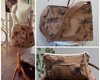 Brown Dragonfly Bag & Wristlet SET- 2 Pc - Adjustable Strap - 7 Pockets - Key Fob