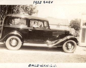 vintage photo Baldwin Long Island Young Boy sits in 1935 Chevy