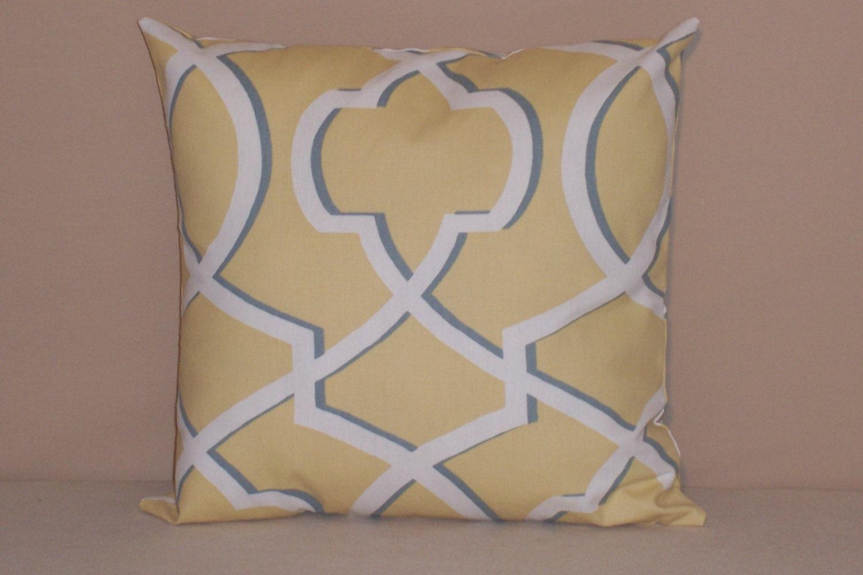Smoke Blue Throw Pillow : Saffron Yellow and Smoke Blue Morrow Throw Pillow by ktechstyles