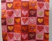 Adult Rib Bib/Clothing Protector. Make-up Bib, Long Length:  Patchwork Pink, Yellow and Red Hearts