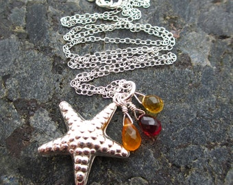 Sale - Citrine, Garnet and Carnelian Briolette and Starfish Sterling Silver Necklace