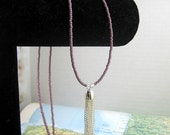 Long Beaded Tassel Necklace in Soft Purple from the Sangha Collection