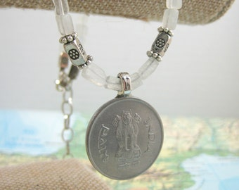 Vintage Indian Coin on Clear Quartz Necklace