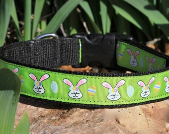 EASTER Dog Collar - SALE - Adjustable - Bright green - Bunny heads and Easter Eggs