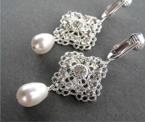Wedding Clip On Earrings, Rhinestone Pearl Drop Silver Ear Clips, Lacy Bridal Clipons, White Pearl Teardrop, Handmade