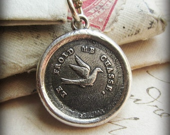 Swallow Wax Seal Necklace - Swallow Jewelry - optimistic and kindhearted - Antique Wax Seal Jewelry FR480