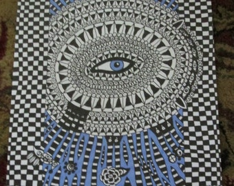 Pen and Ink Drawing Blue Eye