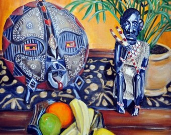 African Mask, Still Life Art Print, Fruit Still Life art, Colorful Art, African Inspired Giclee, Living Room Art Print , Mat OPTION
