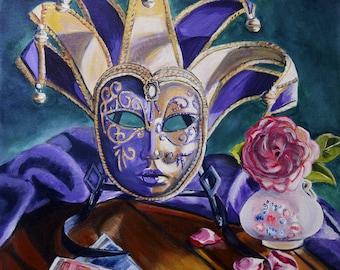 Masqerade mask still life fine art giclee print, wall art, Heather Sims  size and mat OPTION purple gold