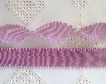 "Rayon Moire Pleated Ribbon Rosy Mauve Ribbon Work Ribbon Flowers Doll Costuming 1 meter 2"" wide"