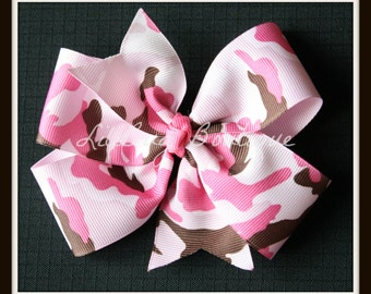 LiliBug Pink Camo Camoflauge Hair Bow - Ready to Ship