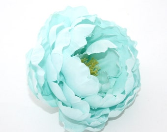 Gorgeous Silk Peony in Mint Blue - 5 Inches - silk flowers, artificial flowers, faux flowers - ITEM 0471