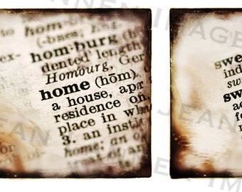 Home Sweet Home - Gift Note Cards Set of (5) w/envelopes, original photograph dictionary Retro Sepia words texture ttv style By Jean Lannen