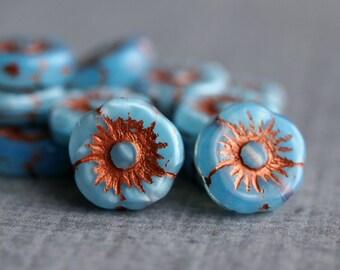 Aqua Blue Czech Glass Bead 11mm Daisy Sunburst Flower :  10 pc