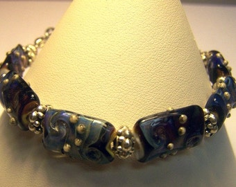 Medical Alert Bracelet / Watch Band with Handmade Glass Beads -Pysche Connection- SRA 105S