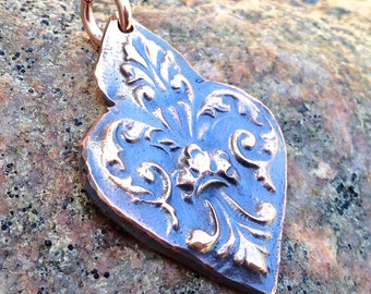 Fancy Copper Fleur de lis, Rustic, Focal Pandant, Oxidized Copper