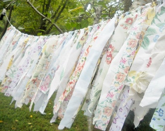 Vintage Florals, Rag Tie Banner, Rag Fringe Garland, Fabric Garland, Tea Party, Shabby Chic Garland Farmhouse Wedding Photo Prop