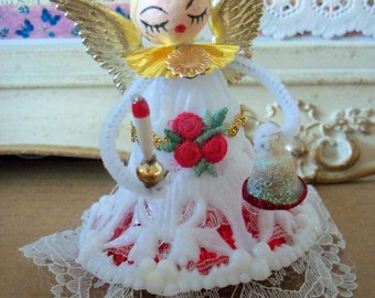 Merry Kitschmas / Vintage Style / Angel Decoration / Made from Vintage Craft Supplies
