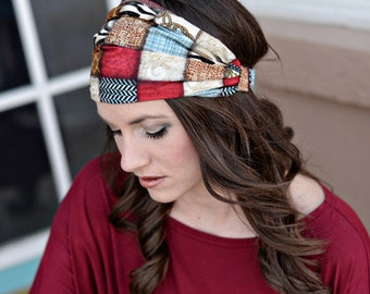 Bandana Head Scarf, Bandana Head Scarves, Bandana Headscarves, Headwrap Headband, Head Wrap Headband, Patchwork African Print Headband Wrap