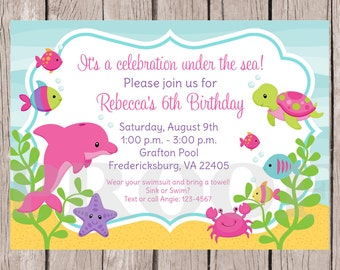PRINTABLE Under the Sea Birthday Party Invitation / Girls Under the Sea Invitation / Pink Dolphin, Fish, Turtle, Crab  / You Print - 0022