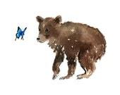 Bear Cub And Butterfly Print From Original Watercolors, Bear Wall Art Home Decor, Children's Room Wall Art, Nursery Wall Art Print