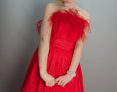 1980s cherry red party dress 80s strapless marabou gown size medium Vintage statement dress