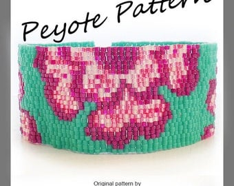 Indian Flowers Bracelet - Flowers Peyote Pattern Bracelet - For Personal Use Only PDF Tutorial