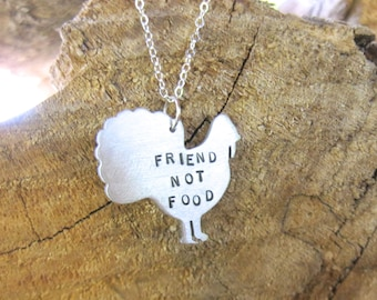 Vegan Neckace-Friend not Food Turkey-Vegan Jewelry-Thanksgiving-Gift-Birthday-Personalized- Eco Friendly