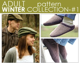 The Adult Winter Pattern Collection 1:  Newsie, Moc-a-Soc, and Clog-n-Soc PATTERNS