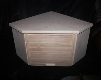 Unfinished Birch Corner Breadbox With Roll Up Door