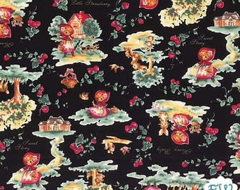 Little Strawberry (Little Red Riding Hood ) Black Background - From Lecien - One Yard - 9.95 Dollars